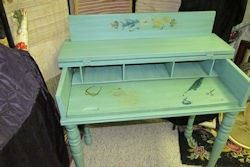 green hand painted desk