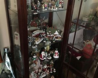 Curio Cabinet with Dickens Village Department 56 items
