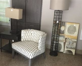 Crate and Barrel chair and end table.