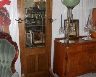Oak Hall Tree and Antique Pole Lamp
