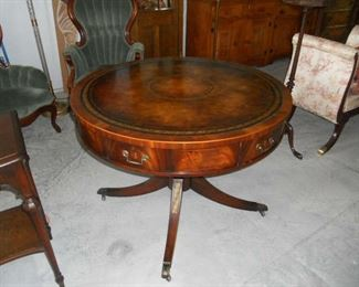 Antique Weiman leather Top 6 Drawer Rotating Table