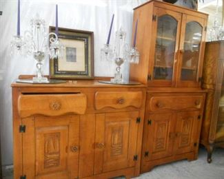 40's Virginia House Furniture Sideboard and China  with Sailing Ship Carving
