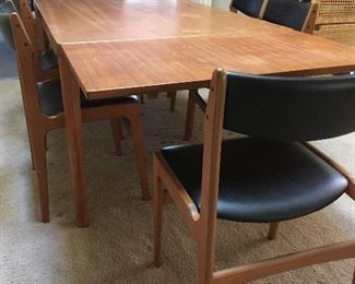 Danish Modern Teak Extendable Dining Table Vejle Stole Mobelfabrik