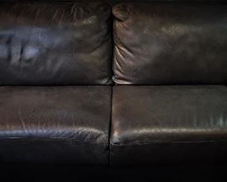 Jet Black Leather Couch