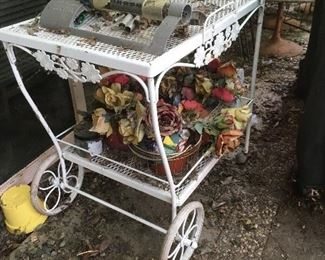 Adorable metal flower cart - vintage, not today's import junk