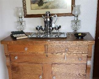 oak chest, lamps, cocktail set, framed art, books