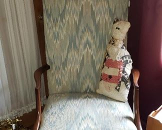 flame stitched chair with quilted cat