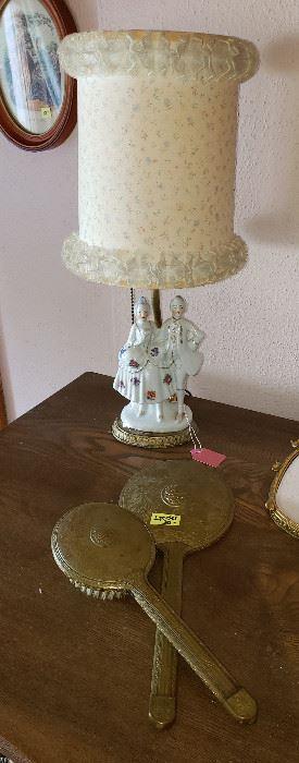 lamps, vintage dresser set