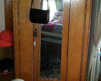 oak wardrobe, oil lamps