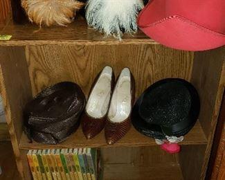 vintage ladies hats, alligator shoes