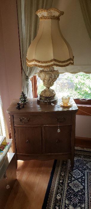 chest, Capodimonte lamp (2), rug