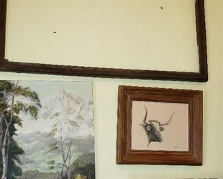 vintage picture frames, art, Texas Long Horn