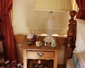 nightstand, lamp, figurines