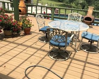 patio furniture and planters  etc.