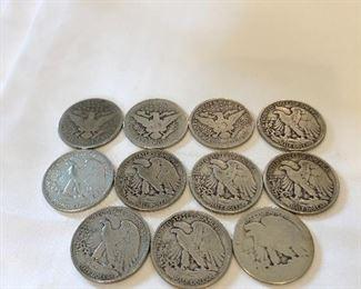11 Silver Half Dollars