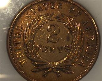 1865 2 Cent Piece Civil War Era