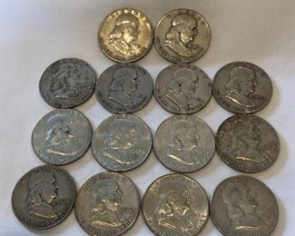 14 Ben Franklin Silver Half Dollars