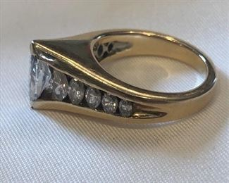 14k Gold .84ct Marquise Diamond 1.1.ct Total Weight Ring