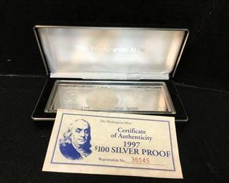 $100 franklin 4oz troy silver proof2
