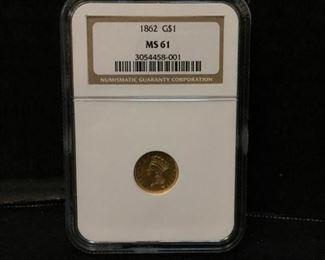 1862 gold dollar coin