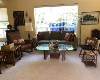 Living Room:  Glass Coffee Table, Chairs, Side Tables, Couch, Pictures