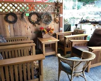 Outback Patio:  Wreaths, Wood Patio Chairs & Table