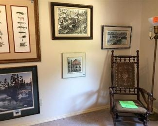 Art & Antique Room:  Vintage Pictures, Lamp, Rocker