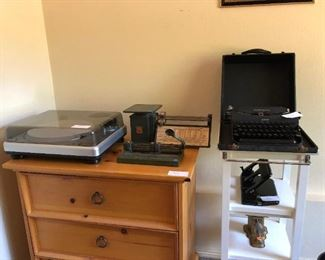 Office:  Turn Table, Small Dresser, Vintage Scale, Typewriter, Small Shelf Unit
