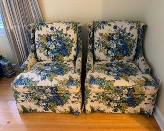 #4(2) Blue-Flowered Wingback Chairs - Claude Pearson   $75 each