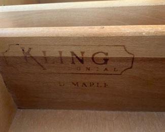 #6Kling Solid Maple Dresser w/9 drawers - 60x20x34  Mirror  48x32 $125.00