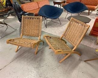 Pair Danish Hans Wegner Folding Chairs