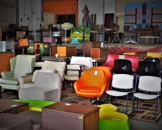 Need chairs? Got 'em. Lamps? How about hundreds? Rugs? Plenty. One-of-a-kind retro decor? You're all set.