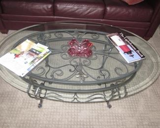 Glass Top Iron Base Coffee Table
