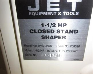 Jet Closed Stand Shaper 1-1/2 HP