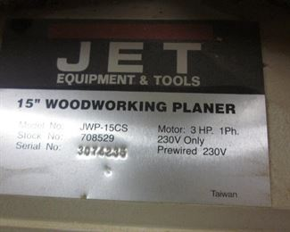 "Jet 15"" Woodworking Planer"