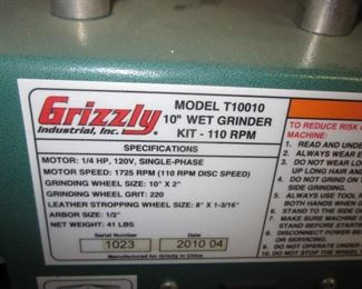 "Grizzly 10"" Wet Grinder"