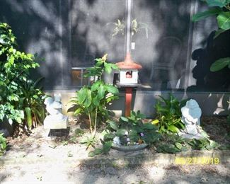 Concrete Smiling Buddha,  Birdhouse on stand (Concrete Bird in Birdhouse), Concrete Squirrel Figure, Large Concrete Low Planter.