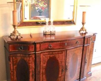 Credenza in Great Condition, Like New! Large Mirror, Pair of Hurricane Lamps and Decanters