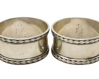 7. Antique Pair Sterling Silver Napkin Rings