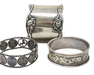10. Lot Three 3 Sterling Silver Napkin RingsHolders
