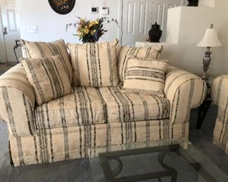 Quality sofa and love seat - as good as new. No pets in house.