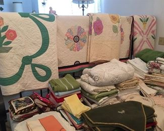 Beautiful linens - Hand made quilts.