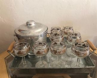 Vintage wine glass set with ice bucket and tray