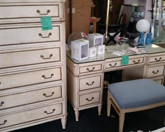 Beautiful Miami designer dresser and matching vanity and mirror.