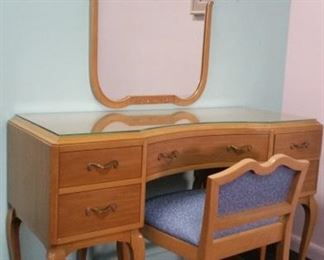 Beautiful Vintage R-Way Furniture Co.  Art Deco Vanity with Chair & Mirror.  Matching dresser sold for $1000.