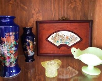 Asian pottery and Fenton items