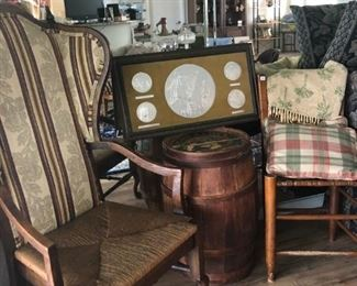 Nice Queen Anne chair and old keg table