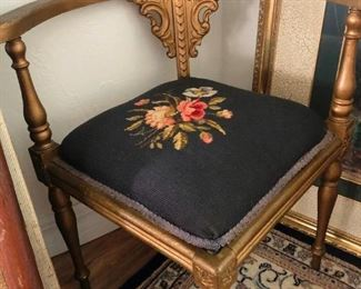 Victorian corner chair with upholstered cushion