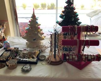 Costume jewelry and ceramic Christmas trees