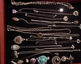 Lots of sterling...pendants and more.